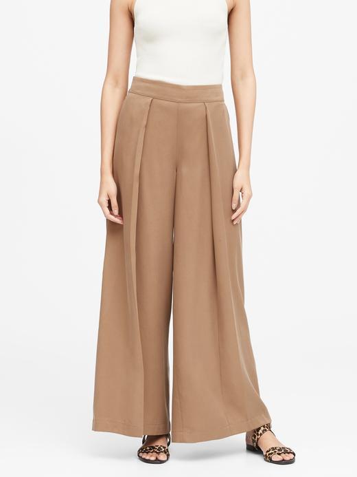 Kadın Bej TENCEL™  High-Rise Wide-Leg Pantolon