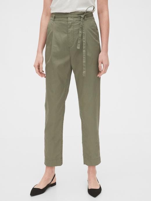 Kadın Yeşil Paperbag-Waist Khaki Pantolon