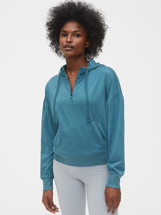 Kadın Yeşil GapFit Yarım Fermuarlı Sweatshirt