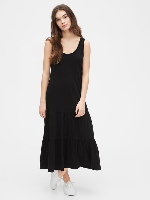 Kadın Siyah Askılı Maxi Elbise