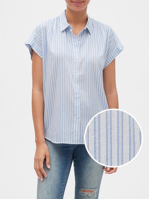 Kadın Mavi Çizgilli Kısa Kollu Gömlek