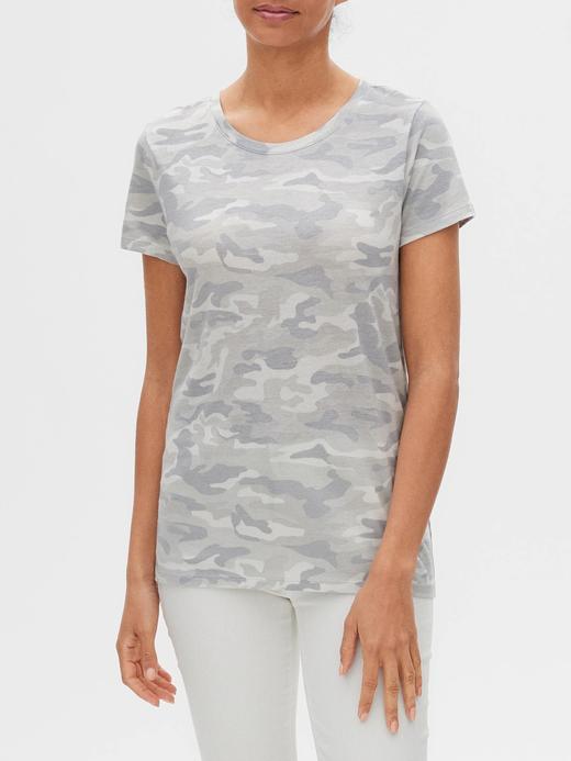 Kadın Gri Favorite Desenli Yuvarlak Yaka T-Shirt