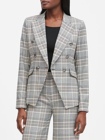Kadın Gri Kruvaze Ekose Blazer Ceket