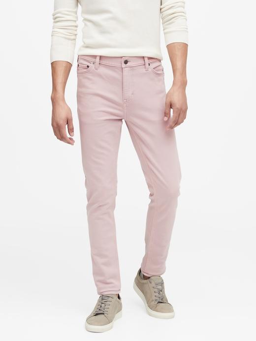 Erkek Pembe Slim Traveler Pantolon