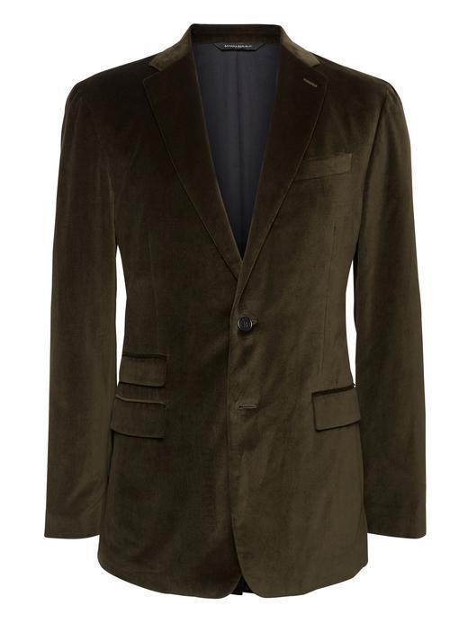 Erkek Yeşil Slim Italian Kadife Blazer Ceket