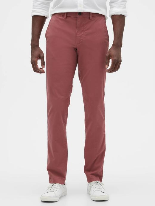 Erkek Kırmızı Slim Fit Gap Flex Khaki Pantolon