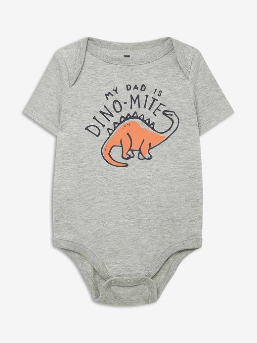 Erkek Bebek Gri Grafik Kısa Kollu Body