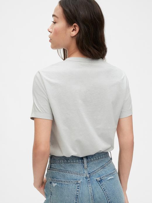 Kadın Gri Grafik Kısa Kollu T-Shirt