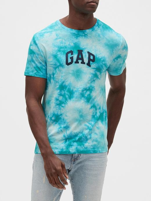 Erkek Yeşil Gap Logo Batik Desenli T-Shirt