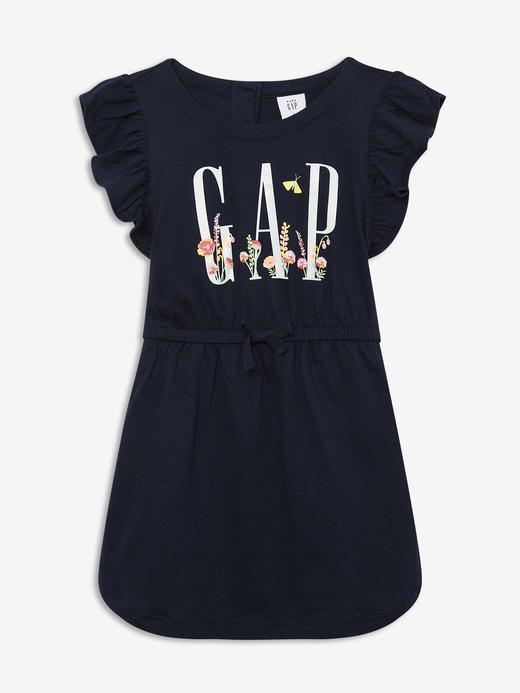 Kız Bebek Lacivert Kolları Fırfırlı Elbise