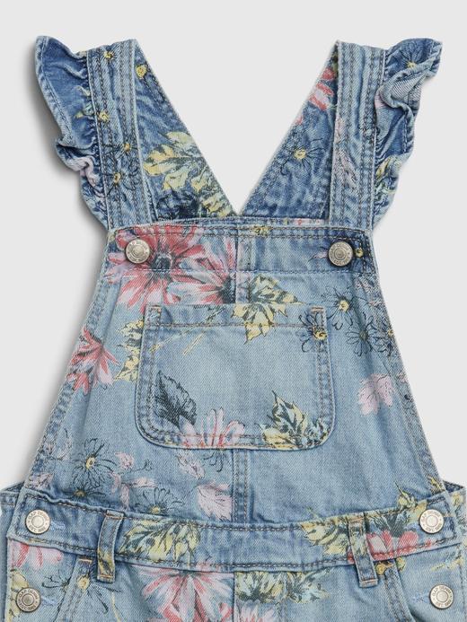 Kız Bebek Mavi Çiçek Desenli Denim Tulum