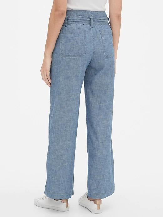 Kadın Mavi Wide-Leg Şambre Pantolon