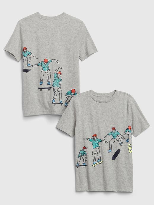 Erkek Çocuk Gri Grafik Kısa Kollu T-Shirt