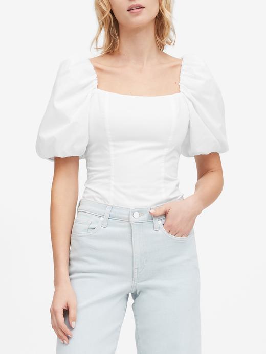 Kadın Beyaz Balon Kollu Cropped Bluz