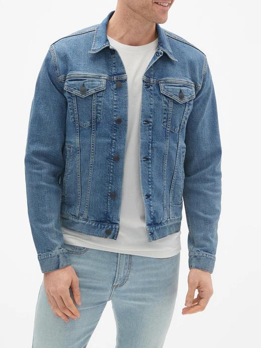 Erkek Mavi GapFlex Icon Denim Ceket