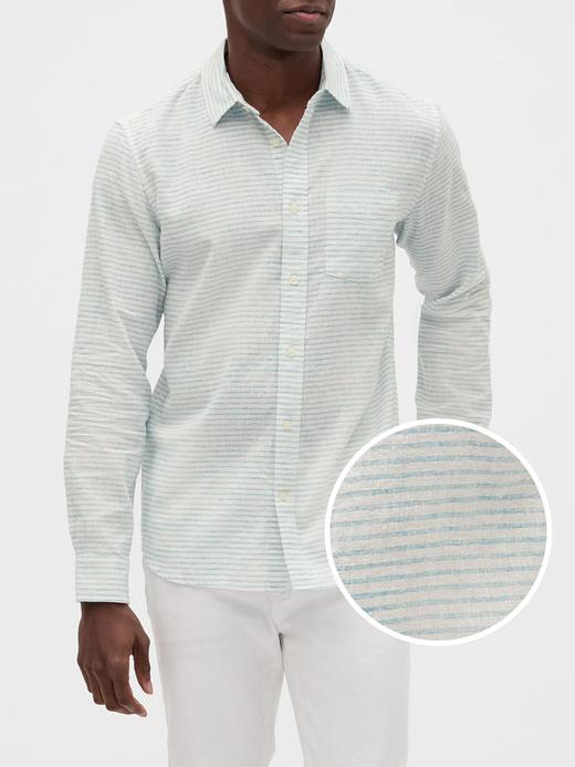 Erkek Beyaz Uzun Kollu Keten Gömlek