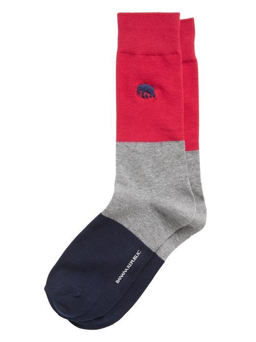 Erkek Kırmızı Fil İşlemeli Çorap