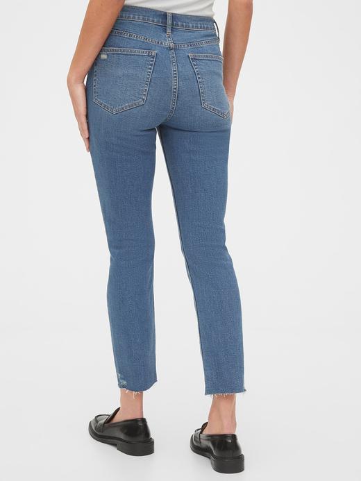 Kadın Mavi High Rise Distressed Cigarette Jean Pantolon