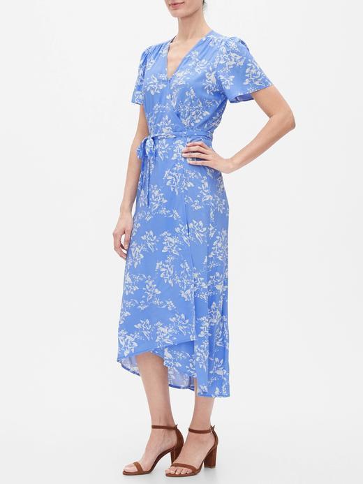 Kadın Mavi Desenli Midi Anvelop Elbise