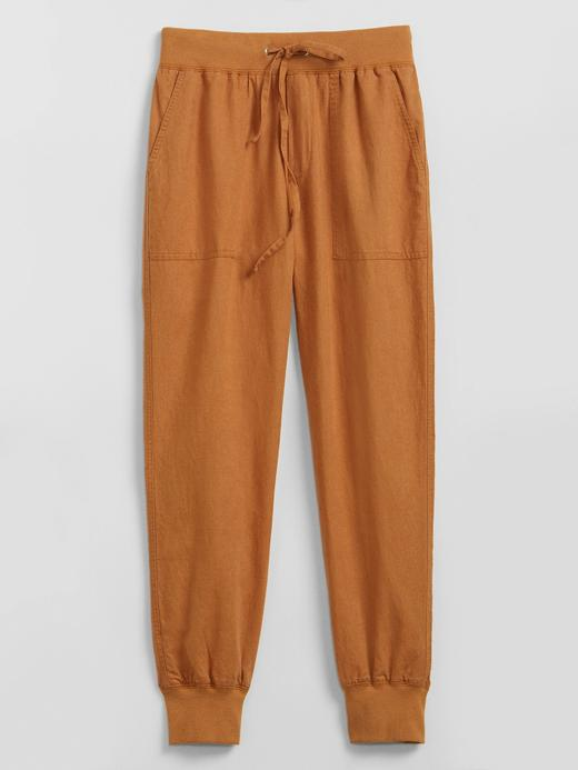 Kadın Kahverengi Keten Karışımlı Utility Jogger Pantolon