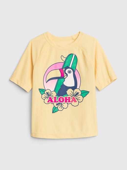 Erkek Bebek Sarı Grafik Desenli Rashguard Mayo T-Shirt