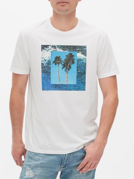 Erkek Beyaz Grafik Kısa Kollu T-Shirt