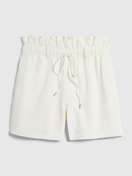 Kadın Beyaz Paperbag Pull-On Denim Şort