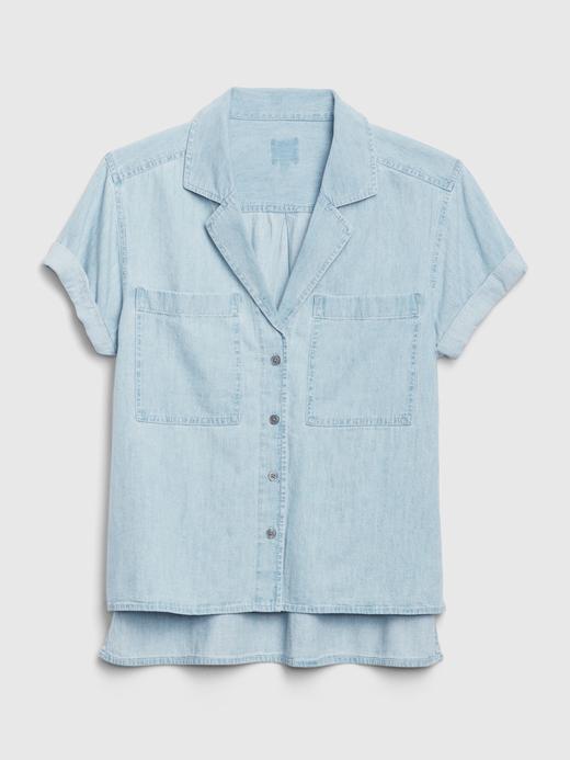 Kadın Mavi Kısa Kollu Denim Gömlek
