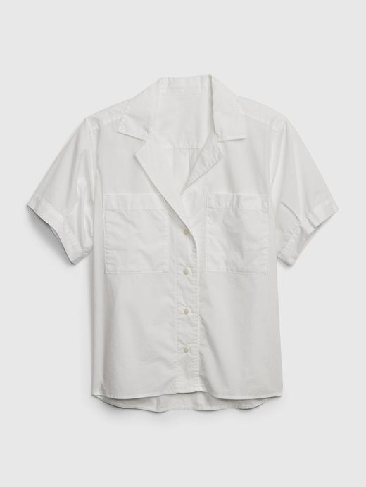 Kadın Beyaz Kısa Kollu Poplin Gömlek