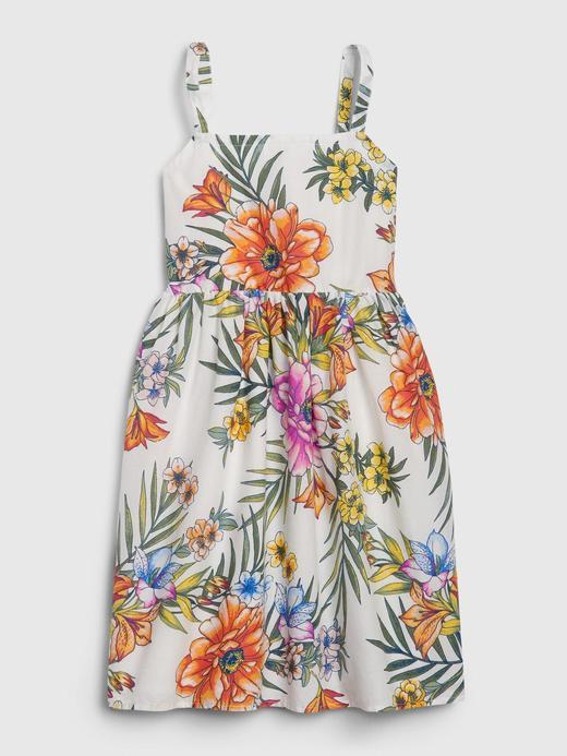 Kız Çocuk Beyaz Çiçek Desenli Elbise