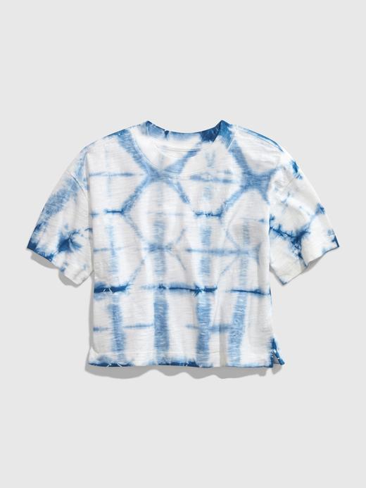 Kız Çocuk Mavi Crop Boxy T-Shirt