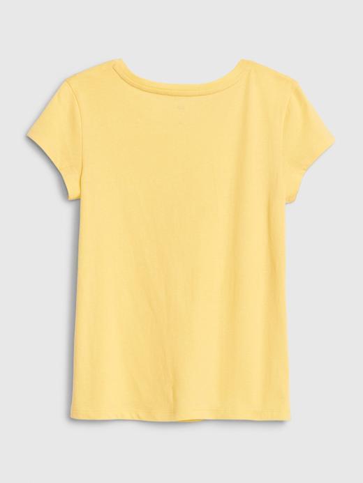 Kız Çocuk Mavi Grafik Kısa Kollu T-Shirt