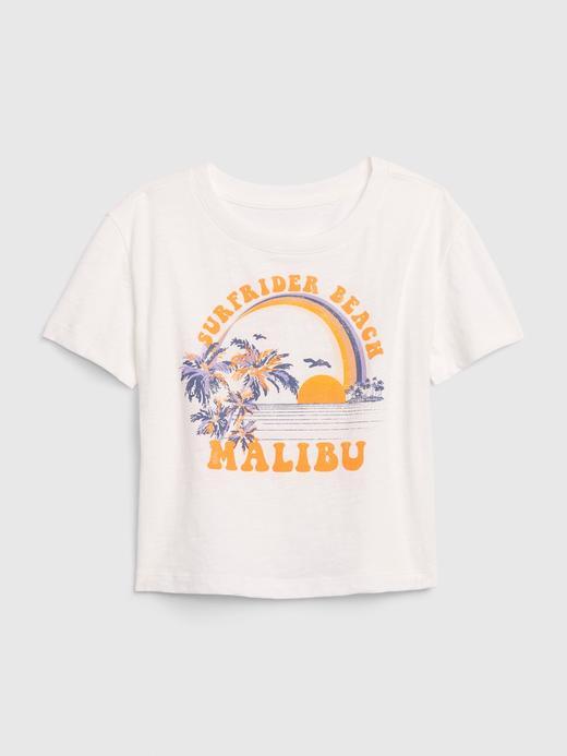 Kız Çocuk Beyaz Grafik Kısa Kollu Boxy T-Shirt