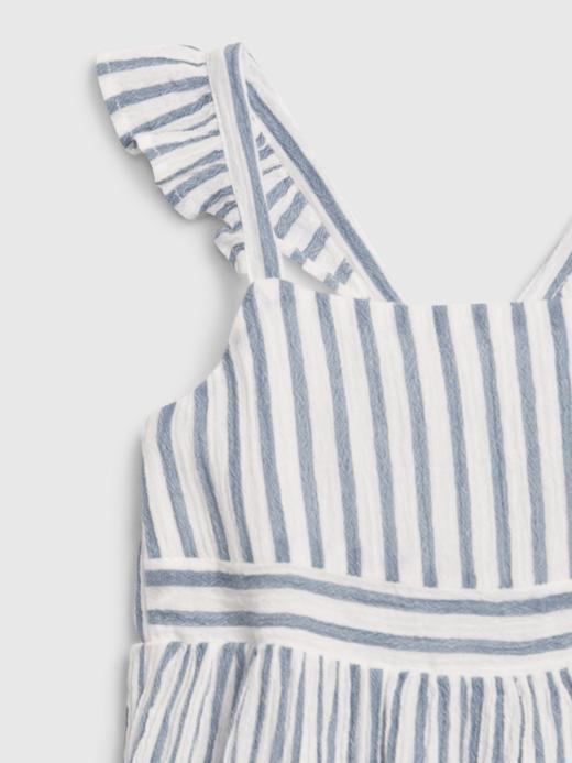 Kız Bebek Mavi Kolları Fırfırlı Çizgili Elbise