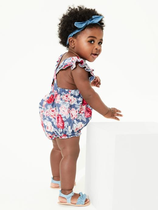 Kız Bebek Lacivert Desenli Fırfırlı Tulum