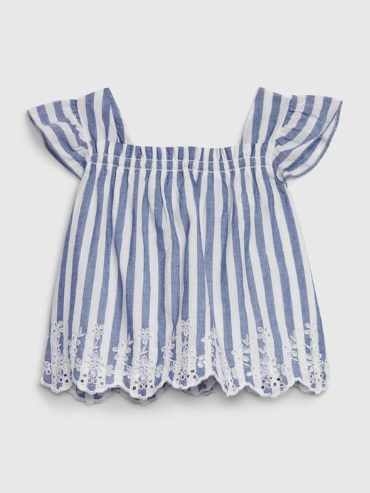 Kız Bebek Mavi Çizgili Üst ve Alt Takım