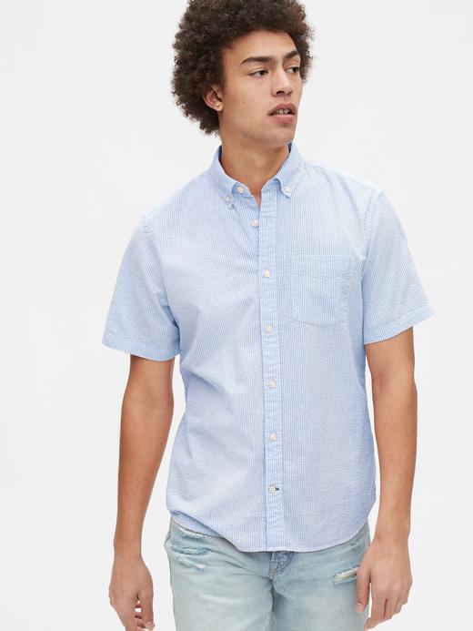 Erkek Mavi Kısa Kollu Gofre Gömlek