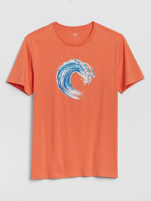 Erkek Turuncu Grafik Kısa Kollu T-Shirt