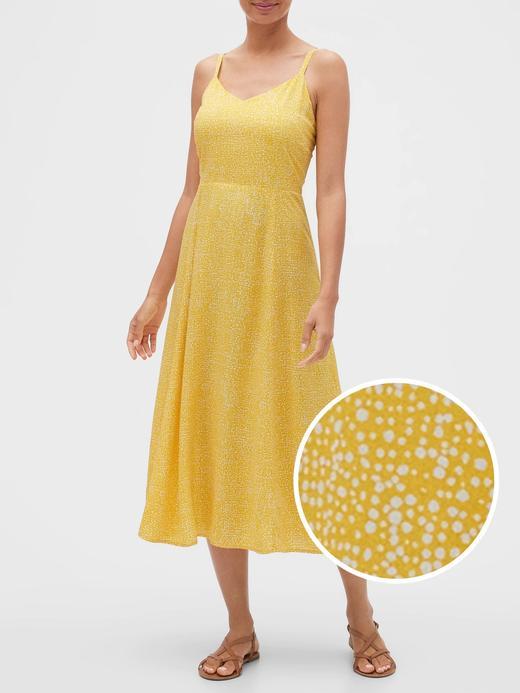 Kadın Sarı Desenli Midi Elbise