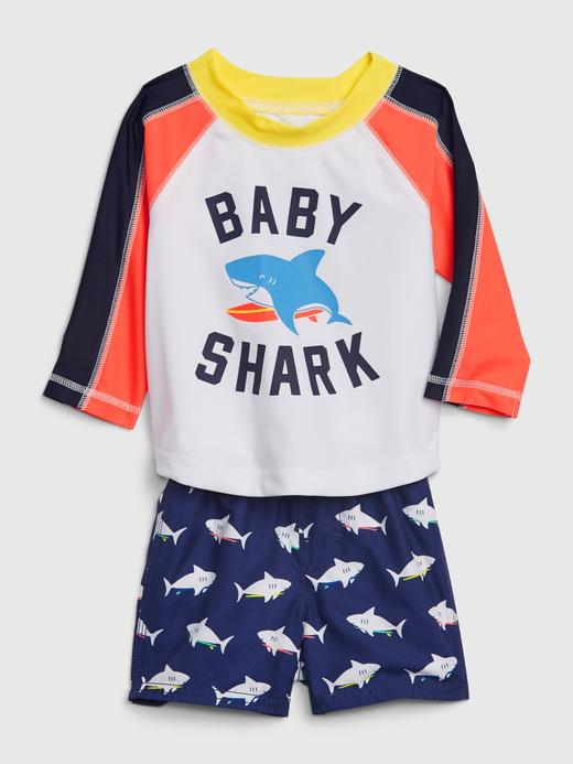 Erkek Bebek Lacivert Köpek Balığı Desenli Üst ve Alt Mayo Takımı