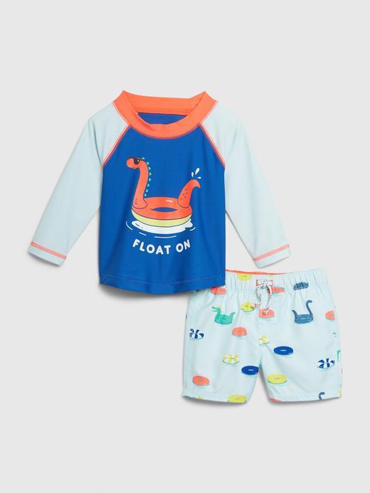 Erkek Bebek Mavi Uzun Kollu Üst ve Alt Mayo Takımı