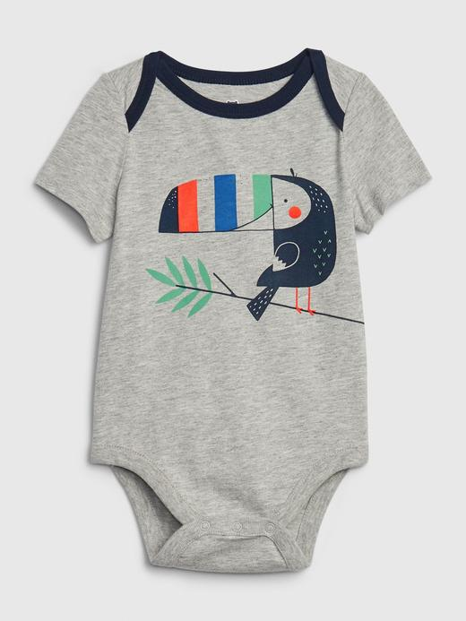 Erkek Bebek Gri Grafik Desenli Body