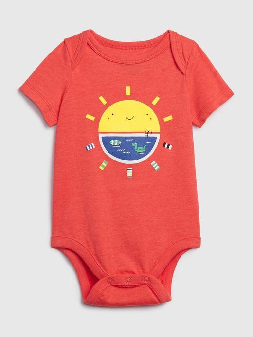 Erkek Bebek Kırmızı Grafik Desenli Body