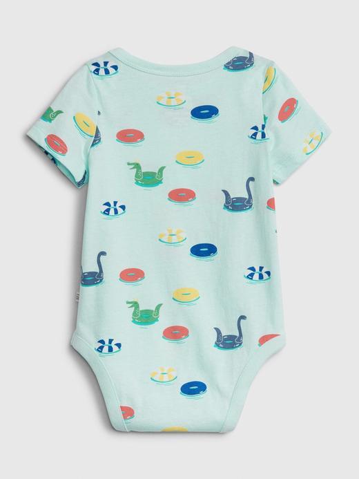 Erkek Bebek Mavi Desenli Kısa Kollu Body