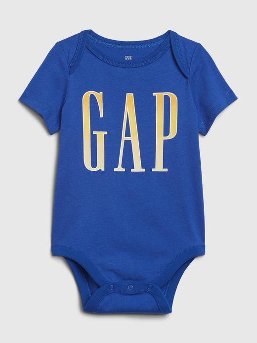 Erkek Bebek Mavi Gap Logo Kısa Kollu Body