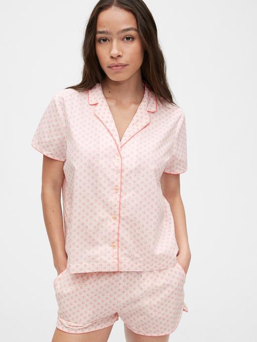 Kadın Pembe Poplin Gömlek Pijama Üstü