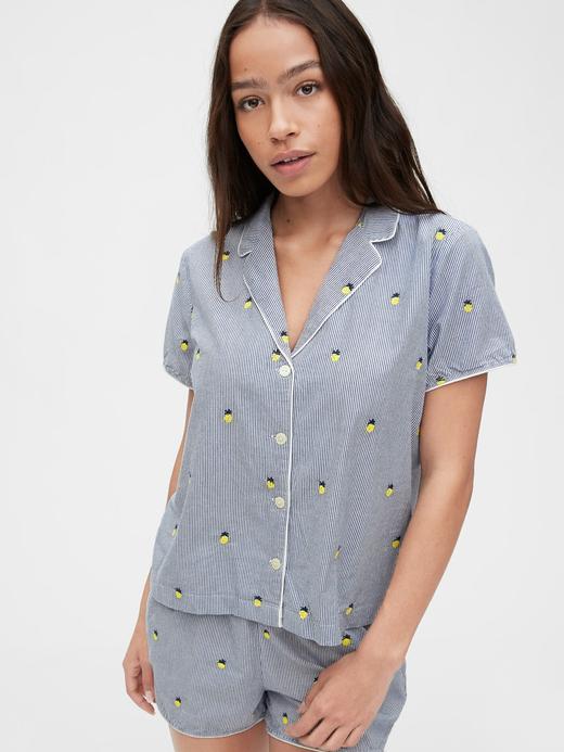 Kadın Lacivert Poplin Gömlek Pijama Üstü