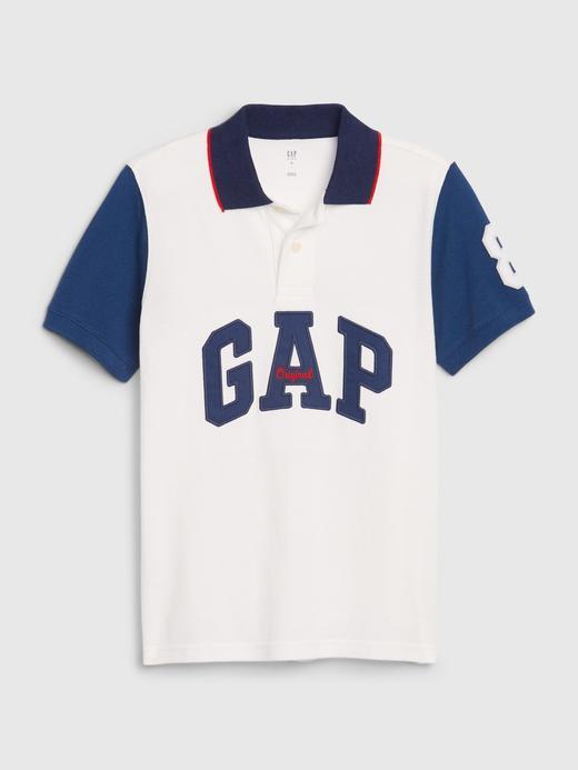 Erkek Çocuk Beyaz Gap Logo Pique Polo Yaka T-Shirt