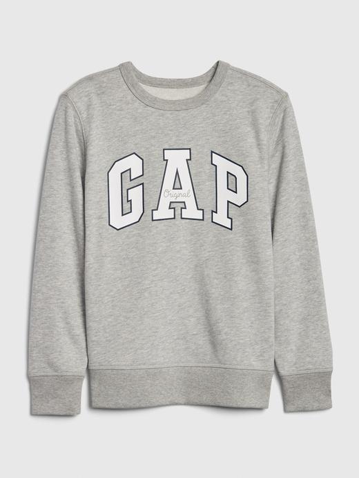 Erkek Çocuk Gri Gap Logo Düz Yakalı Sweatshirt