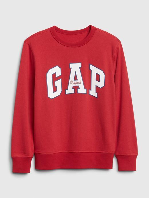 Erkek Çocuk Kırmızı Gap Logo Düz Yakalı Sweatshirt